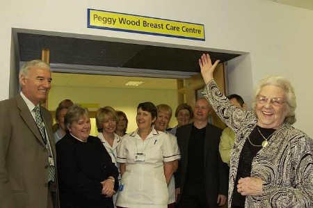 Peggy Wood, far right, opens the new breast care centre at Maidstone Hospital. Picture: JOHN WARDLEY