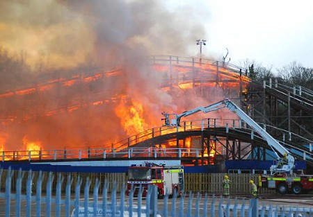 The famous Scenic Railway rollercoaster goes up in flames. Picture: Nick Evans