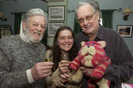 Peter Firmin (left) and Oliver Postgate with Mr Firmin's daughter Emily and Bagpuss