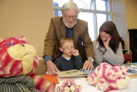 Bagpuss co-creator Peter Firmin and his daughter Charlotte with Hamish Bean, six, at the We Love Bagpuss exhibition