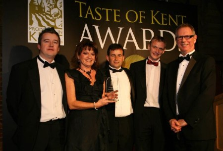 Karen Williams, Mark Jones and chef Alan Irwin, of the Mulberry Tree, receive their Taste of Kent Award for Kent's Best Restaurant from award sponsor Andy Weir, of Kent Frozen Foods, pictured left. On the right is award presenter, John Warnett
