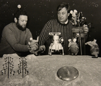 Oliver Postgate (right) and Peter Firmin at work on The Clangers in 1969