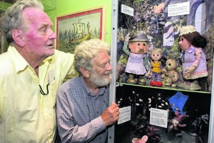 Oliver Postgate (left) and Peter Firmin with a Pogles display in the Museum of Canterbury