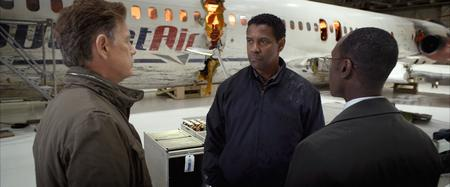Bruce Greenwood as Charlie Anderson, Denzel Washington as Whip Whitaker and Don Cheadle as Hugh Lang in Flight. Picture: PA Photo/Paramount Pictures