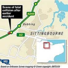Map showing the scene of the fatality on the A249 on Sunday, June 14. Graphic: James Norris