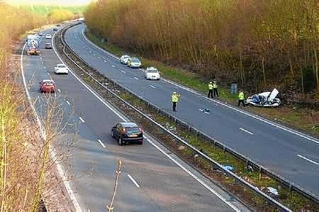 Scene of a fatal crash on the A2 near Canterbury in which Keith Hall died.