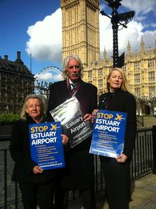 Anti-airport campaigners Gill Moore, George Crozer and Joan Darwell at the House of Commons