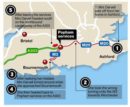 The route Maureen Darvell took on her mammoth motorway journey