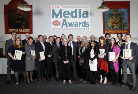 Awards winners at the Shepherd Neame Kent Journalist of the Year Awards 2012.