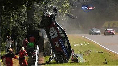 Lucky to be alive! Driver Franciso Carvalho survived this crash at Brands Hatch