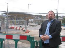 Cllr Viance Maple (Lab) outside the new bus station in Chatham