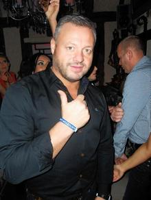 Night club owner Mick Norcross, from the ITV2 show The Only Way is Essex, wearing a Justice for Carl Davies wristband
