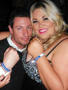 Carl Davies' cousin Hayley McGuinness poses with former EastEnders' actor Dean Gaffney. The pair are both wearing Justice for Carl Davies wristbands