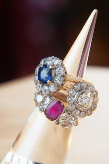 Diamond, ruby and sapphire rings given by Churchill's father to his wife which have been reunited especially for the In the Blood exhibition at Churchill's former home, Chartwell