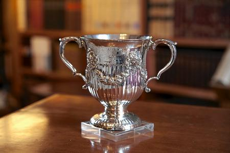 Winston Churchill's silver christening cup at the In the Blood exhibition at Churchill's former home, Chartwell
