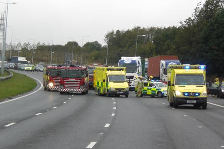 Accident on A2, Gravesend West junction