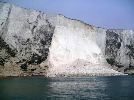 A chalk fall on the White Cliffs, between St Margaret's and Dover