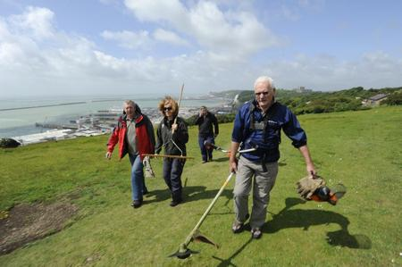 National Trust rangers and volunteers at work on the White Cliffs. Picture: National Trust / Sylvaine Poitau