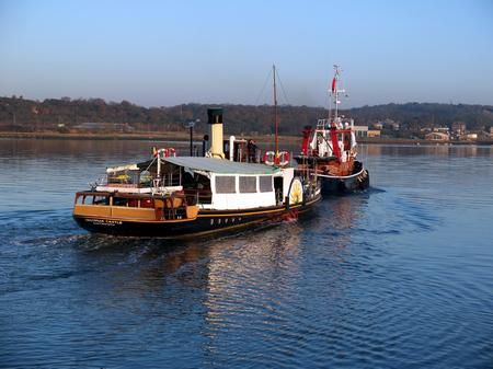 The Kingswear paddle steamer leaving Medway