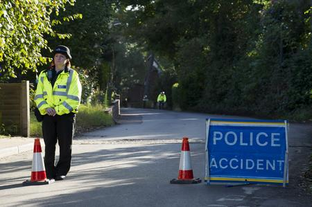 A police cordon in Swanley after a woman is found dying in the road