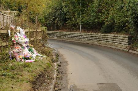 Floral tributes at the spot where Natalie Jarvis was found stabbed to death in Swanley Village
