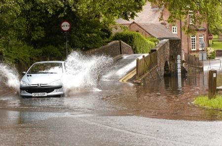 Flooding in Eynsford after heavy rain