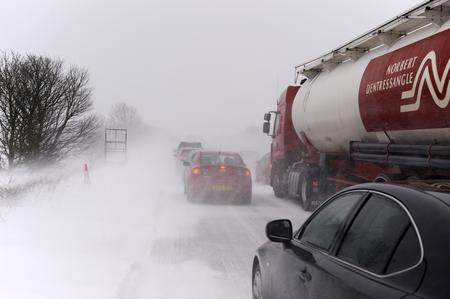 Traffic at a standstill on the A2 heading towards Dover after snow
