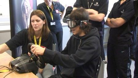 Students at Mid Kent College don beer goggles to test their reactions as 'drink drivers'.