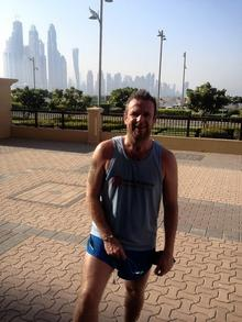 Stuart Bell in Dubai preparing for the marathon in January.