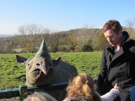 Damian Lewis at Port Lympne Wild Animal Park.