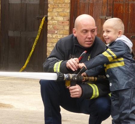 Daniel Quinn, whose dream was to meet Fireman Sam, at Clerkenwell Fire Station.