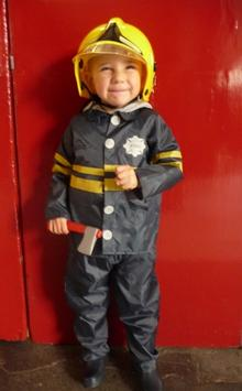 Daniel Quinn, who wanted to meet Fireman Sam, in his new firefighter's outfit.