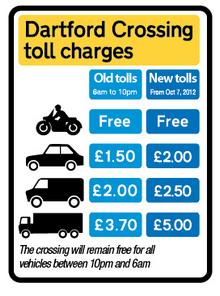 Dartford Crossing toll charges - October 2012