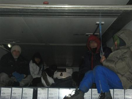 Stowaways found in a refridgerated lorry at Dunkerque, France.