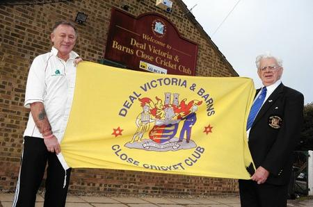 Deal Vics' Fred Wilson (right) and club merchandiser Graham McNamara with the Deal crest which the club usesDeal Vics' Fred Wilson (right) and club merchandiser Graham McNamara with the Deal crest which the club uses