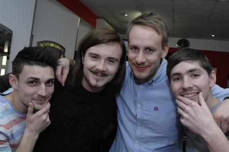 Anton Antoni, Andy Crump, James Amos and Aaron Dawkins at Men's Style in Deal High Street - taking part in Movember