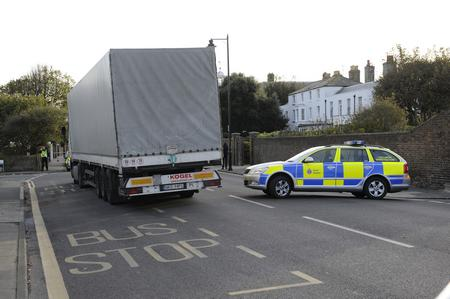 Police at the scene of a fatal lorry crash in Deal.
