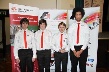 Ed honey, Ben Jolly, Dan Spiteri, Alex Headman Team of RedShift F1, also in the team but not pictured areMatthew Watkins and Josh Schofield