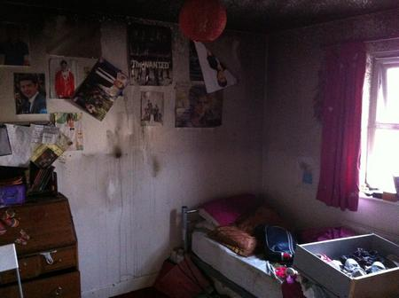 Damage after bedroom fire