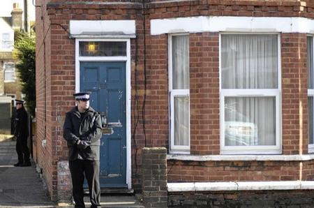 Police at the house where Stephen Farrow was arrested in Blackbull Road, Folkestone