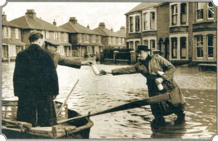 Milk deliveries after the flooding on Sheppey in 1953. Picture: Bel Austin.