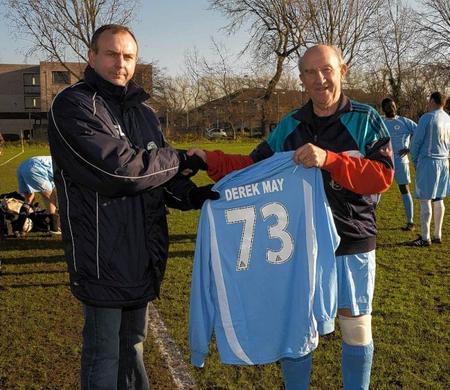 With 1,300 goals to his name, keen footballer and grandfather-of-five Derek May is still going strong.
