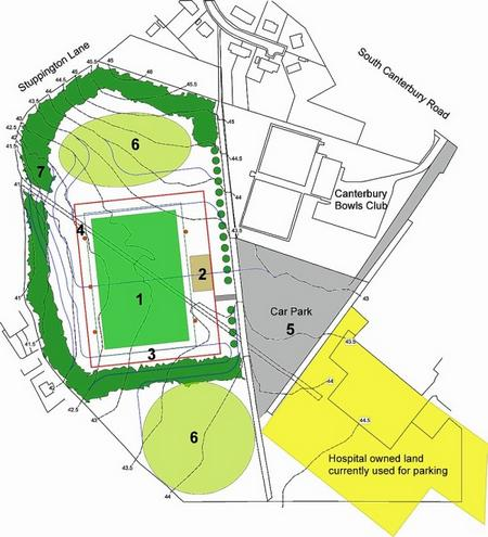 Site plan for the £1.5 million football hub at Ridlands Farm Canterbury