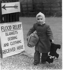 Flood Relief 1953. A collection point for Blankets, Bedding and Clothing. File pic dated 13th Feb, 1953.