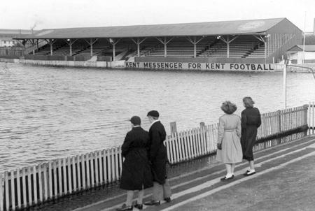 Water polo would have been a more appropriate sport at Gravesend's Northfleet Football ground. pic dated 1953.