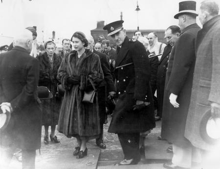 Visit to Gravesend after the devastating 1953 flood a week after the worst floods in living memory brought havoc to Kent in 1953, the Queeen crossed the Thames from Purfleet to Gravesend in a Port of London Authority launch to see the Damage.