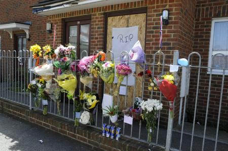 Floral tributes to James Green in Northfleet