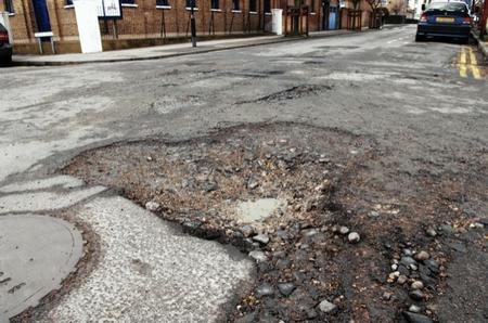 Potholes in Saddington Street, Gravesend