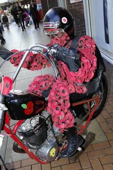 Pops, the RNBLI poppy biker. St Georges Centre, New Road, Gravesend.