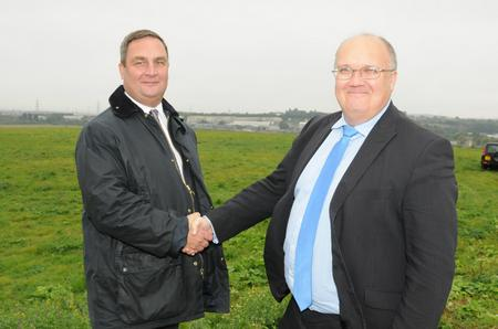 Gravesham council leader John Burden and Dartford leader Jeremy Kite at the site of the Paramount park in Swanscombe